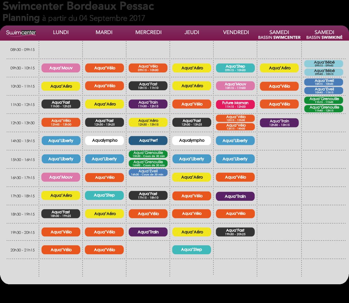 Planning Swimcenter Bordeaux Pessac à compter du 05 Septembre 2016