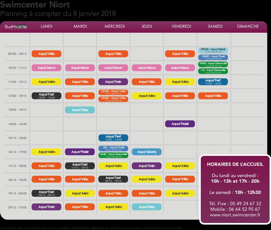 planning à compter du 8 janvier 2018