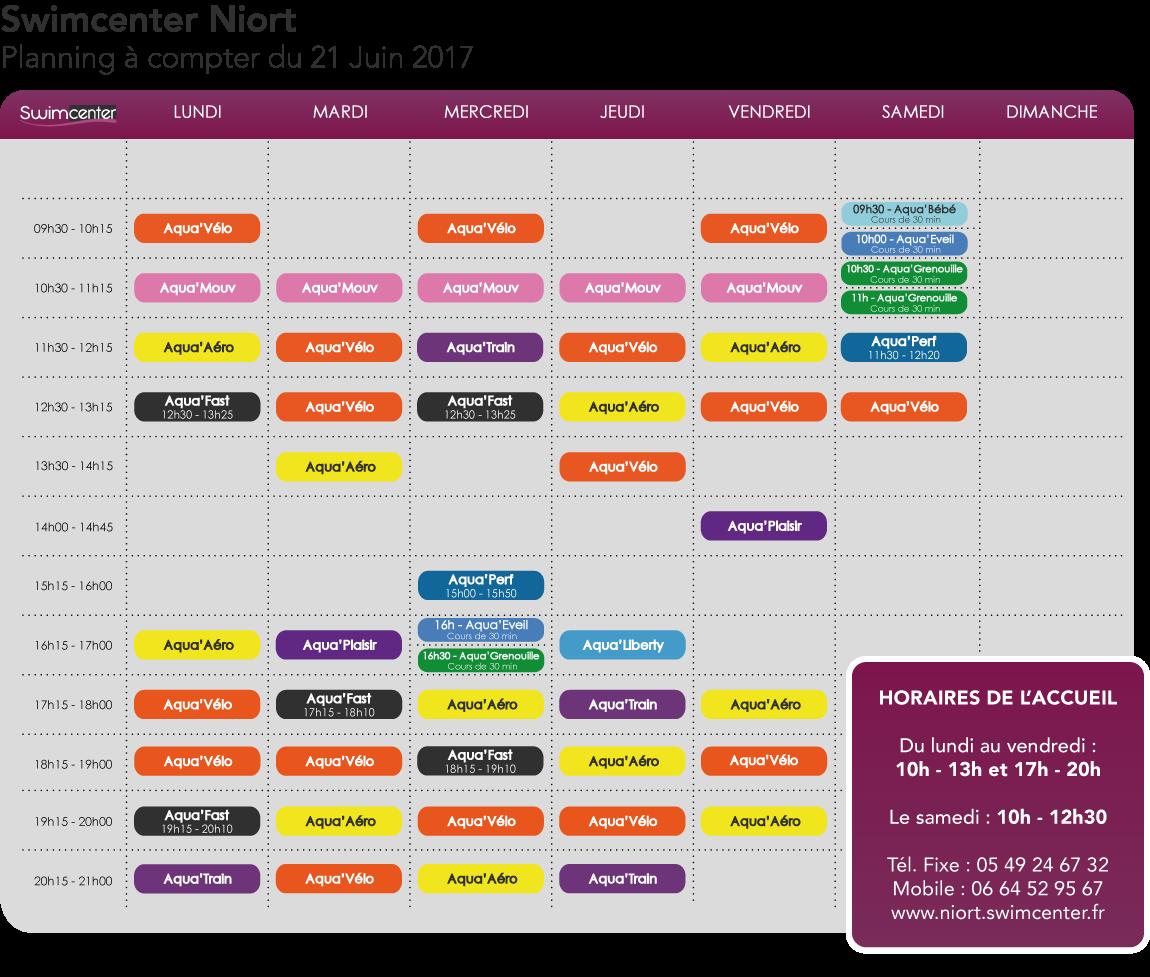 Planning Swimcenter Niort à compter du 21 juin 2017