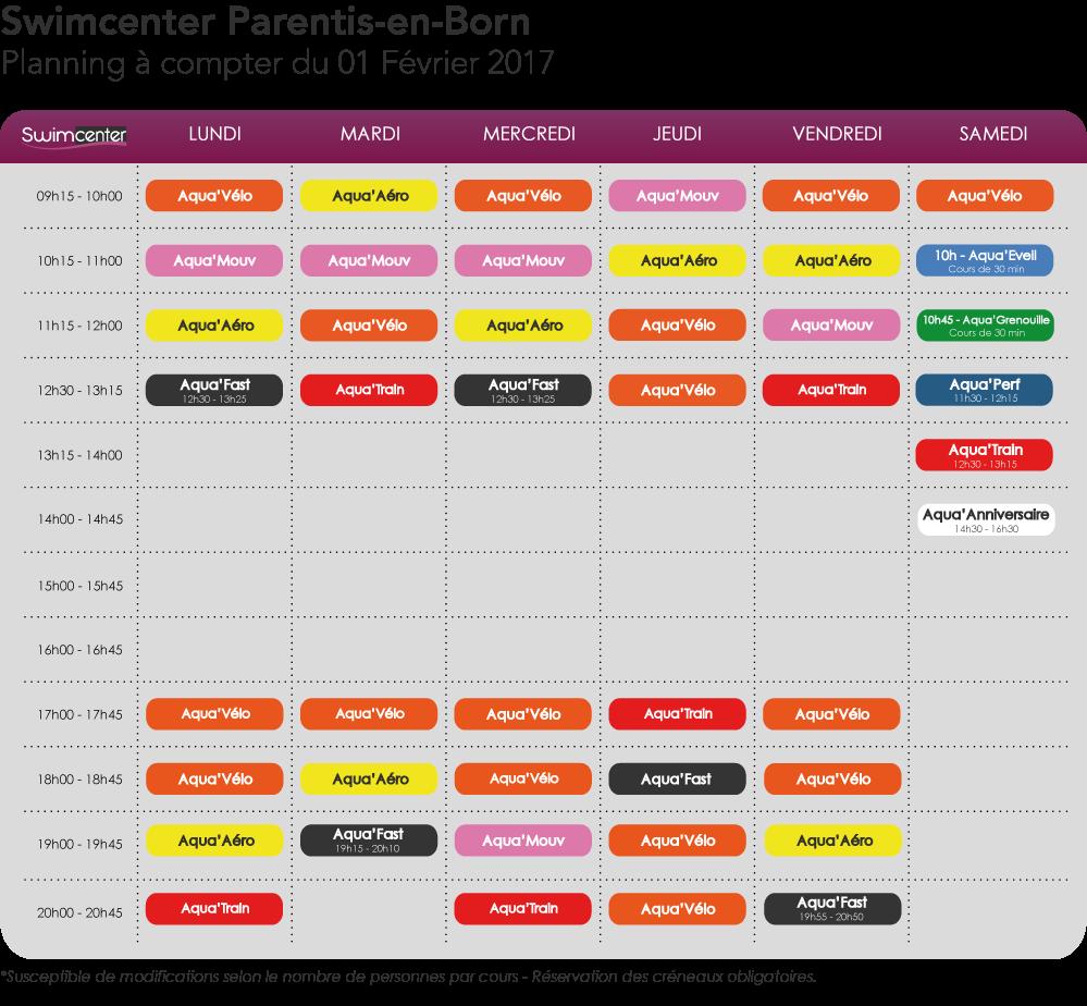 Planning Swimcenter Parentis à compter du 1er Février 2017
