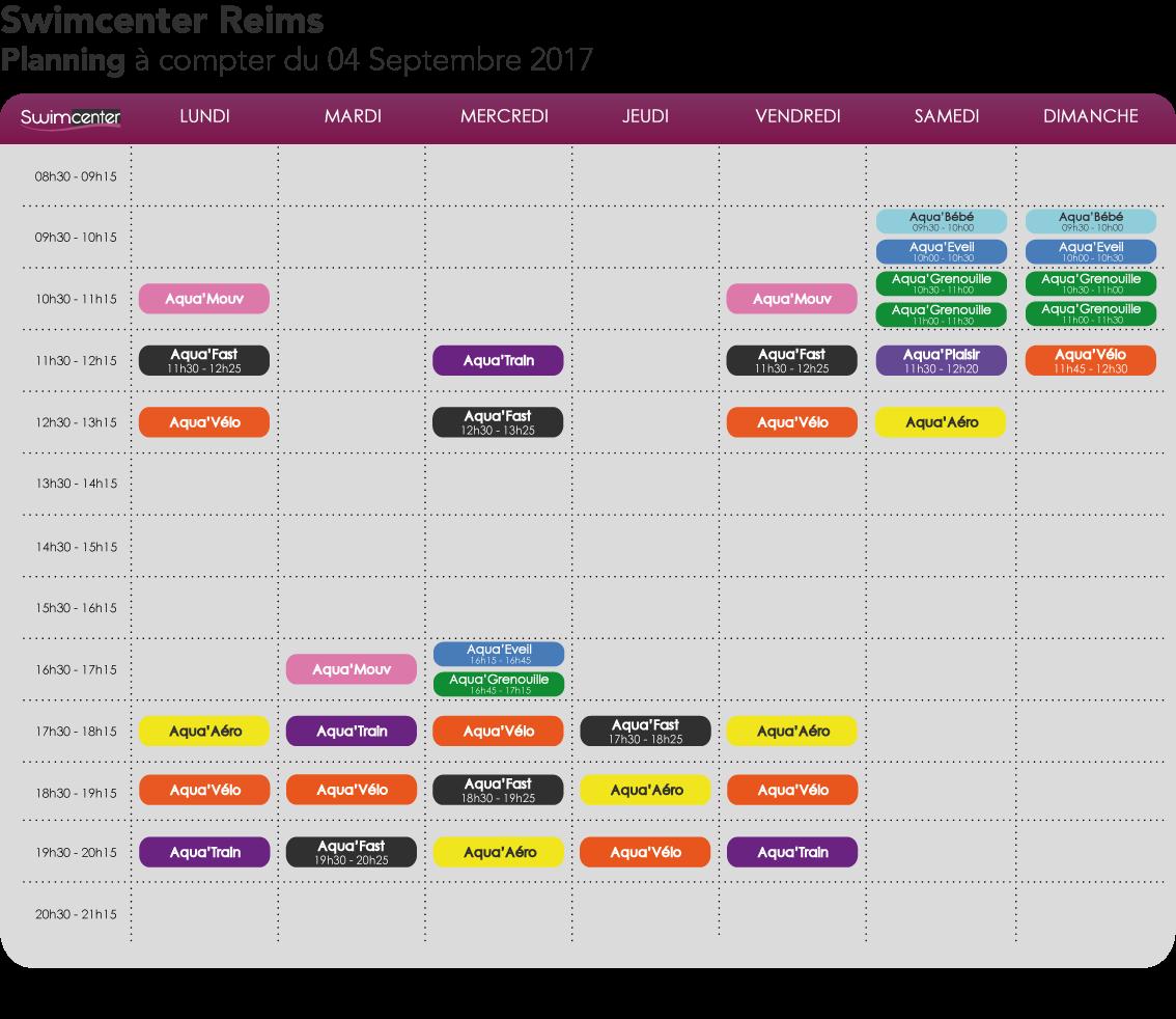 Planning Swimcenter Reims à compter du 04 septembre 2017
