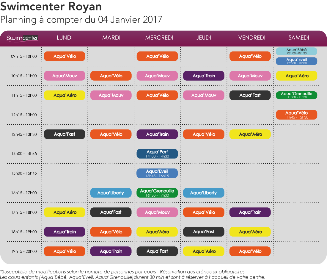 Planning Swimcenter Royan, Janvier 2017