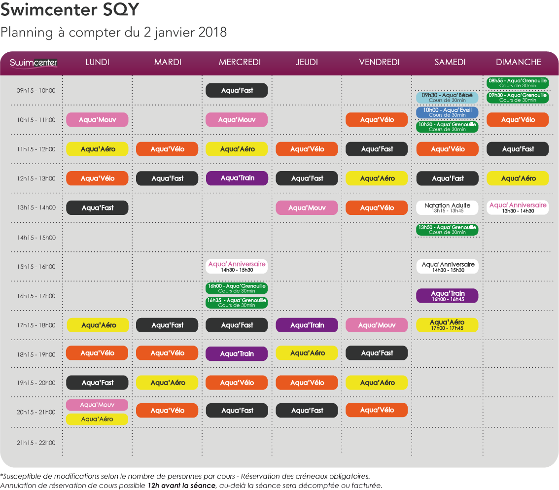 Planning swimcenter SQY à compter du 2 janvier 2018