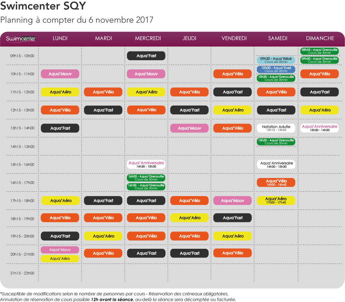 Planning swimcenter SQY à compter du 6 novembre 2017