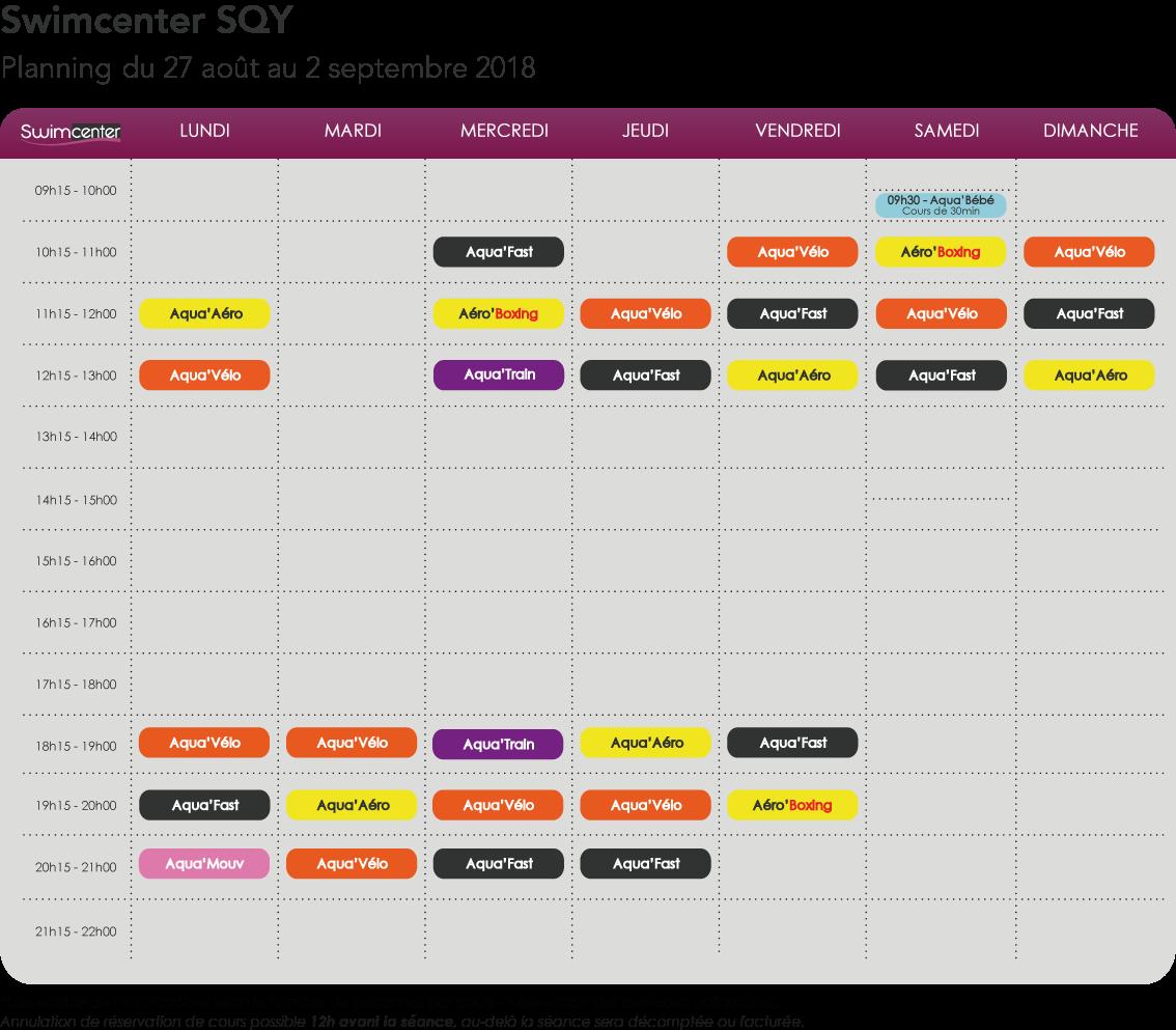 Planning Swimcenter SQY, du 27 août au 2 septembre 2018