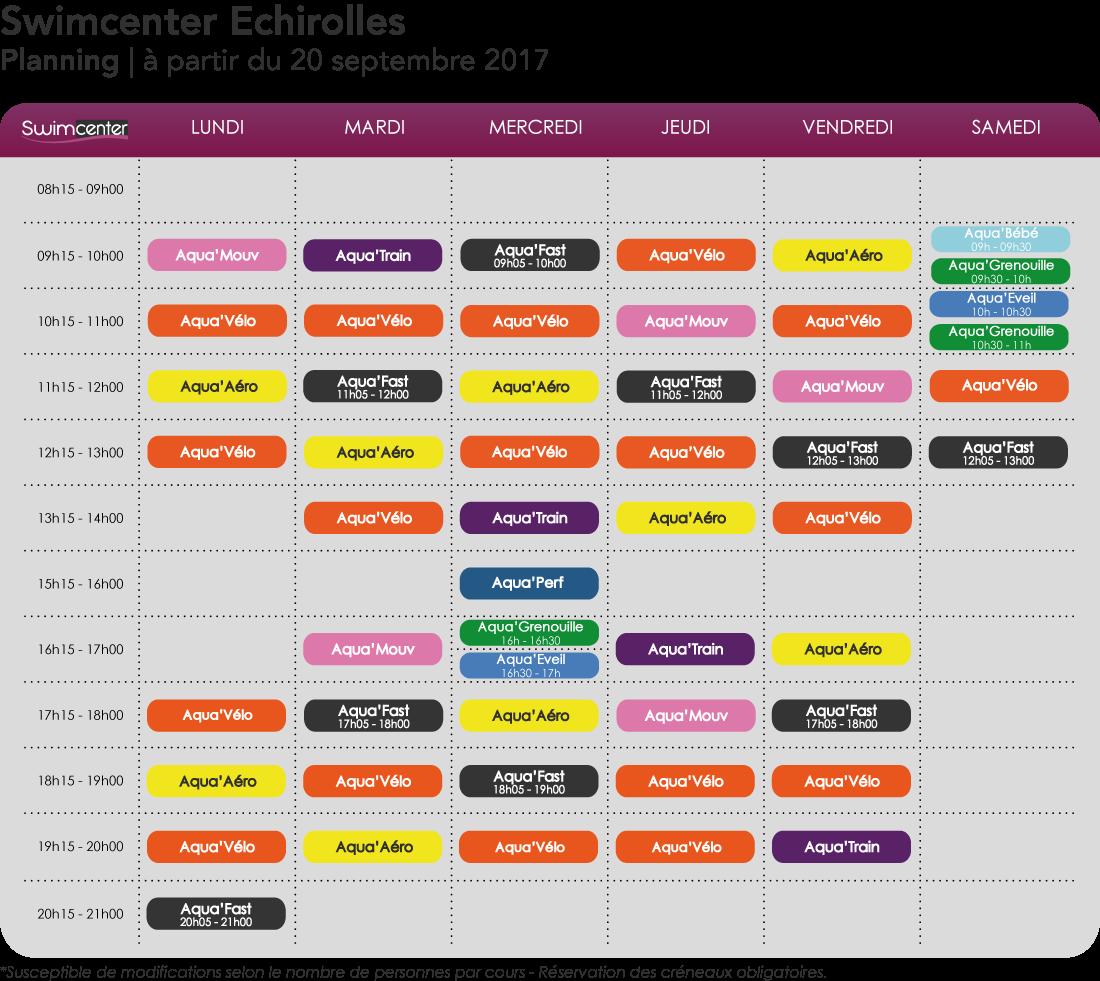 Planning Swimcenter Echirolles à compter de septembre 2017