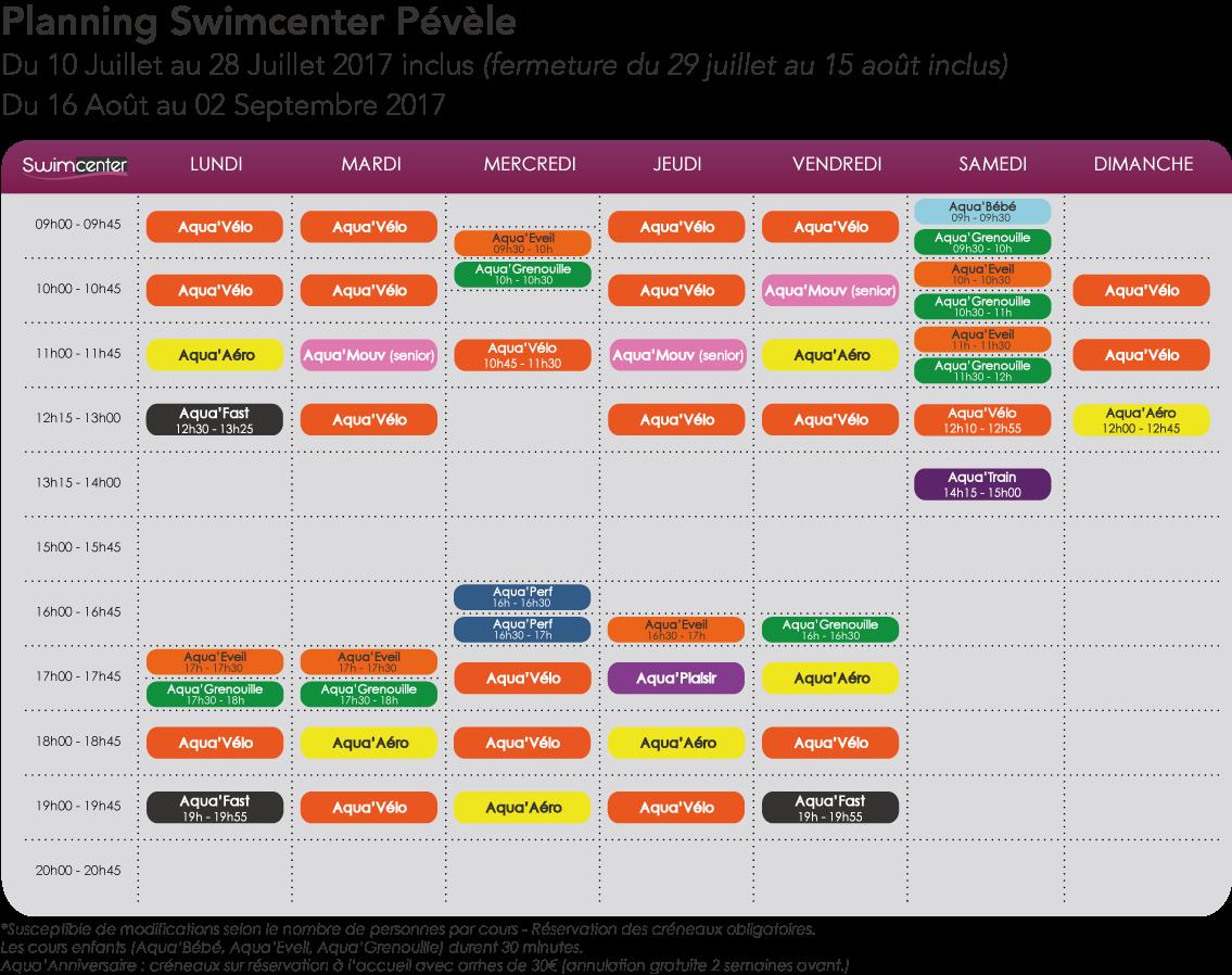 Planning été 2017, Swimcenter Pévèle