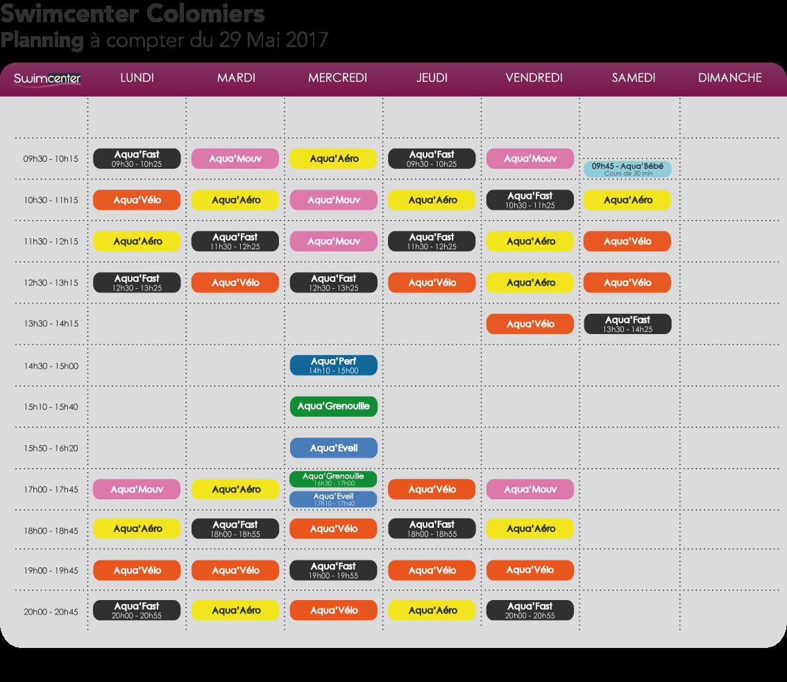 Planning Swimcenter Colomiers, à compter du 29 Mai 2017