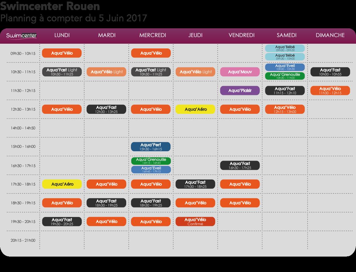 Planning Swimcenter Rouen à compter du 5 Juin 2017