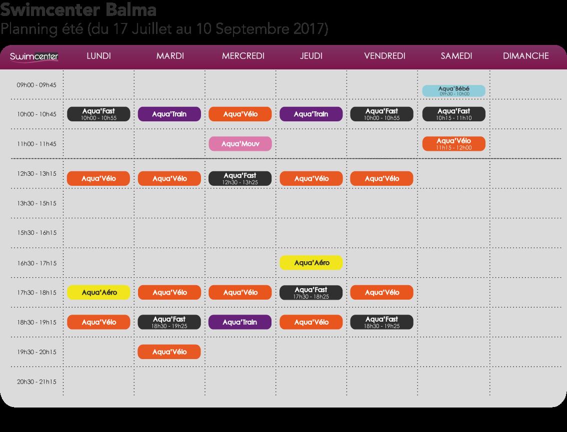 Planning été 2017 Swimcenter Toulouse Balma Gramont