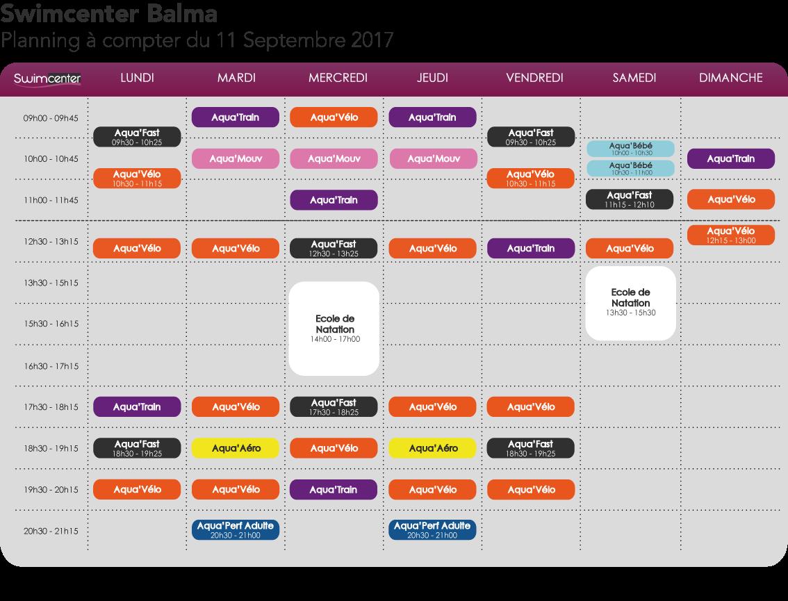 Planning Swimcenter Toulouse Balma Gramont, à compter du 11 septembre 2017
