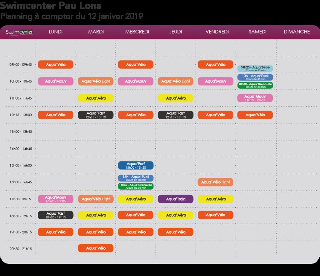 Planning Swimcenter Pau Lons janvier 2019