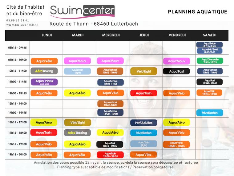 Planning aquatique Swimcenter Mulhouse