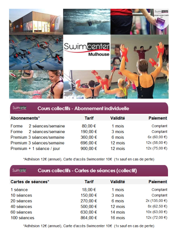 Tarifs swimcenter mulhouse 2019