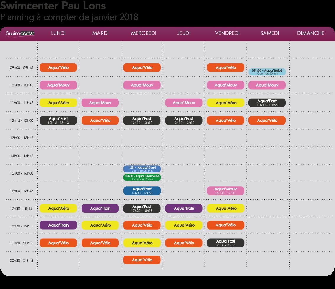 Planning Swimcenter Pau Lons à compter de janvier 2018