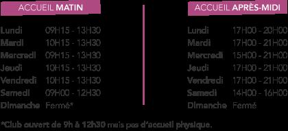 Horaires d'accueil Swimcenter Valenciennes