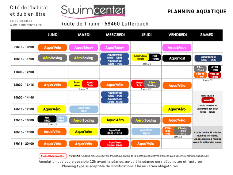 Planning Swimcenter mulhouse 2019