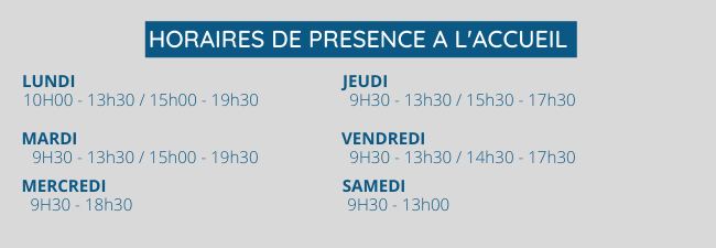 horaires de l'accueil Swimcenter Carquefou - ouvert du lundi au samedi