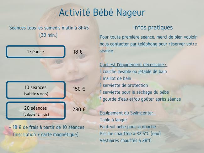 descriptif tarif et fonctionnement activite bebe nageur