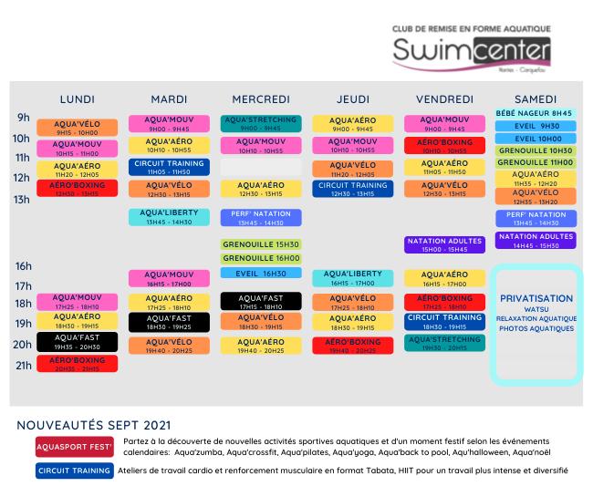 planning des activites swimcenter 2021-2022